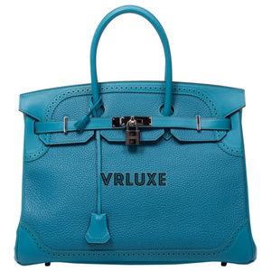 HERMES Birkin 35 Ghilliess Blue PHW Turquoise Bag